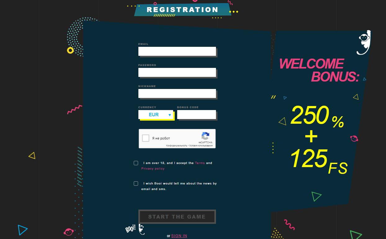 Booi Casino registration