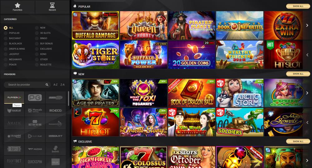 1xlots casino games